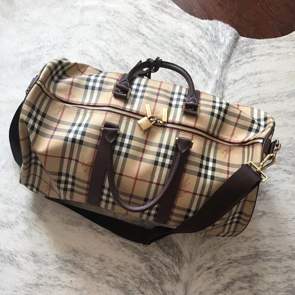 686bd5f967b8 Burberry Handbags - Burberry Haymarket Holdall Duffle Weekend Bag